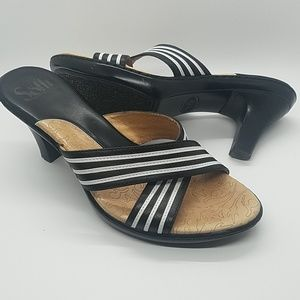 Sofft Shoes - EUC~Sofft Black and White Striped Leather Sandal